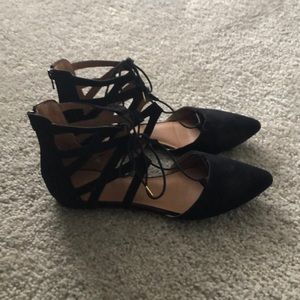 Black pointed toe flats. Size 9.5